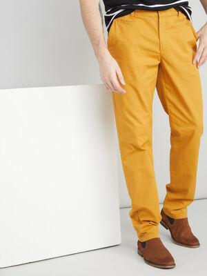 Pantalon droit uni jaune homme