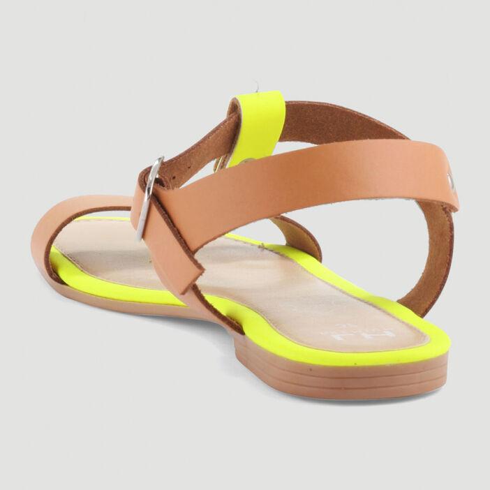 Sandales dessus cuir bride imprimée femme jaune