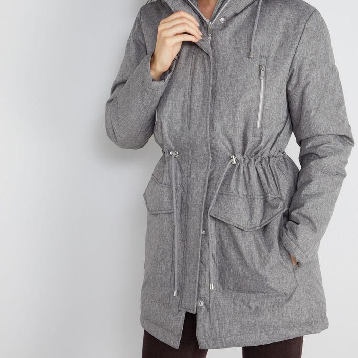 Parka chinée capuche bord fourrée femme gris
