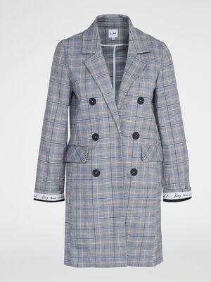 Manteau boutonne Prince de Galles multicolore femme
