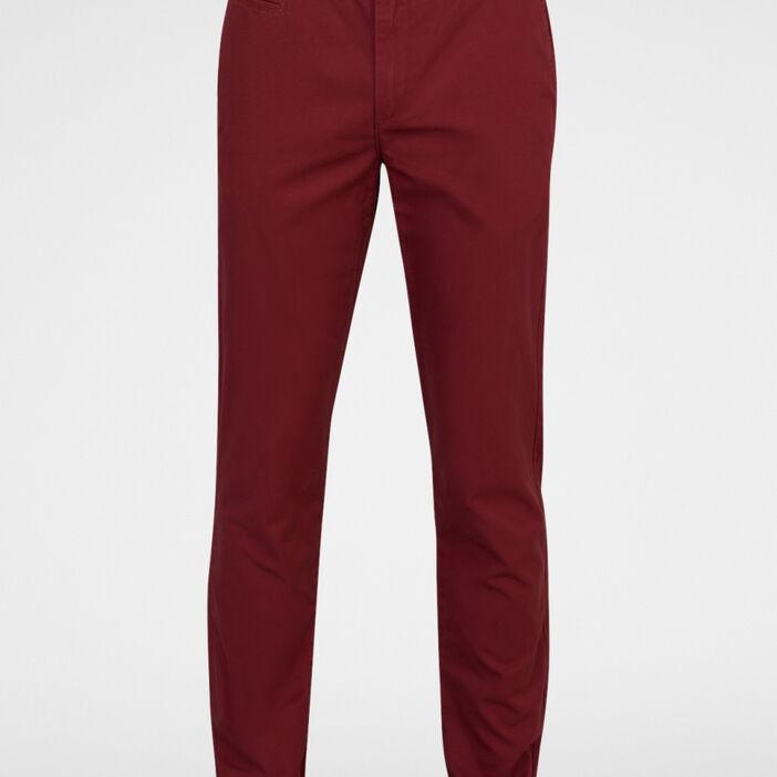 Pantalon droit coton poches passepoilées homme orange foncé