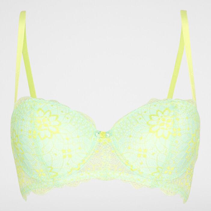 Soutien-gorge dentelle bicolore femme vert clair