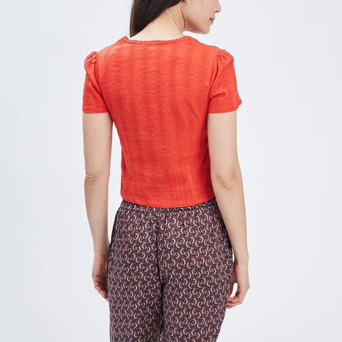 Chemise manches courtes Creeks femme orange