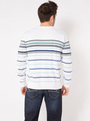 Pull col V a rayures multicolore homme