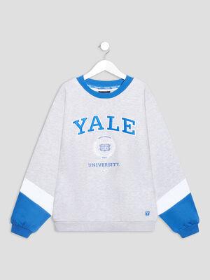 T shirt manches longues Yale gris fille