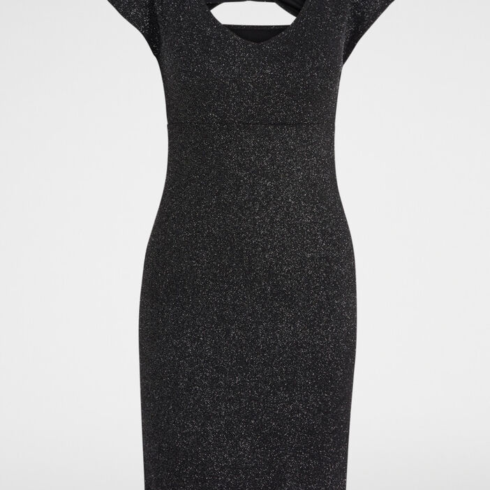 Robe à paillettes dos croisé femme noir