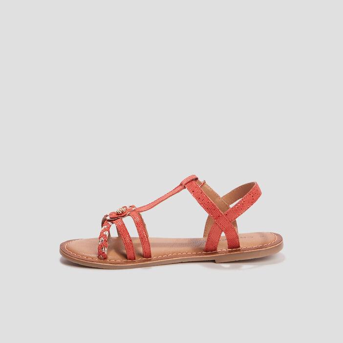 Sandales en cuir à détail bijou fille rouge
