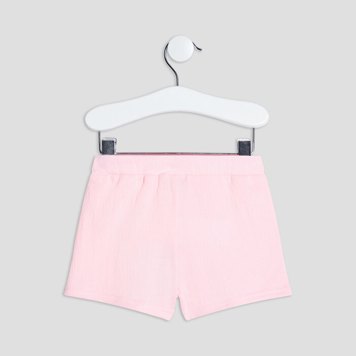 Short droit avec noeud bébé fille rose fluo
