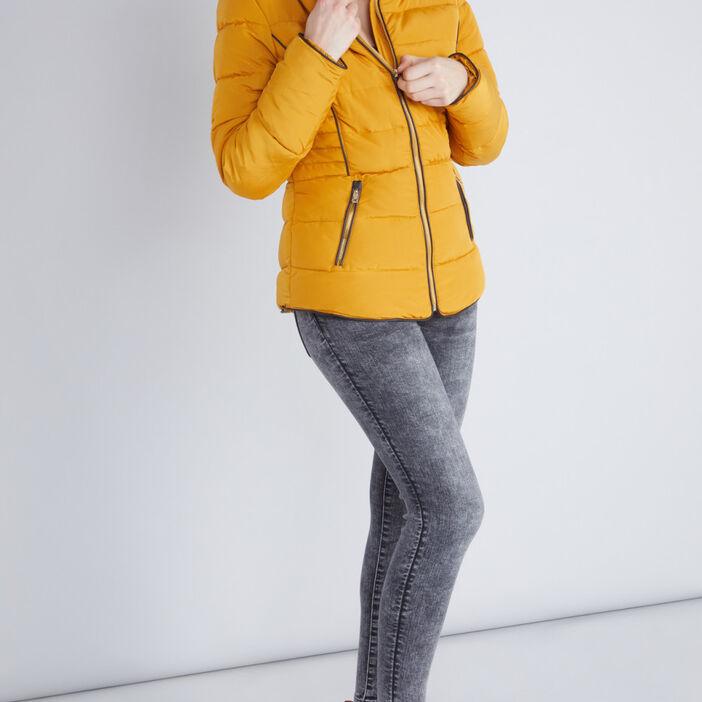 Doudoune zippée capuche fourrure synthét femme jaune moutarde