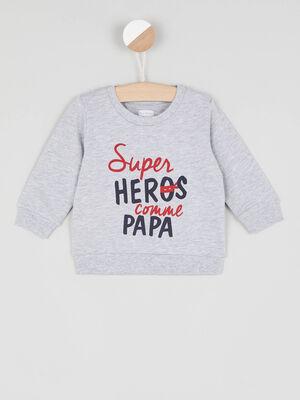Sweatshirt avec imprime coton melange gris garcon