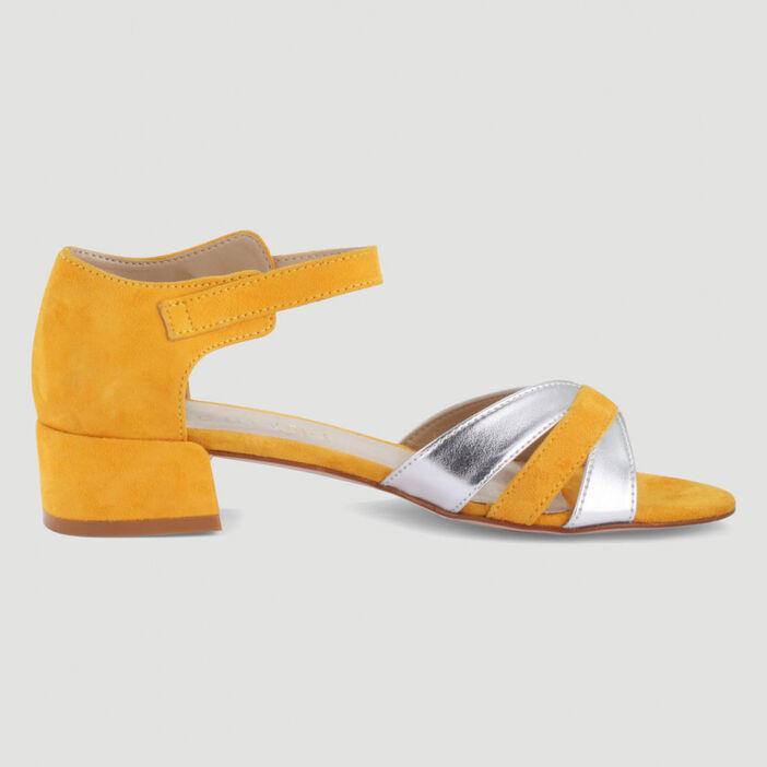 Sandales bicolores à talon carré femme jaune