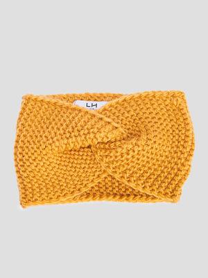 Bandeau tricote jaune moutarde fille