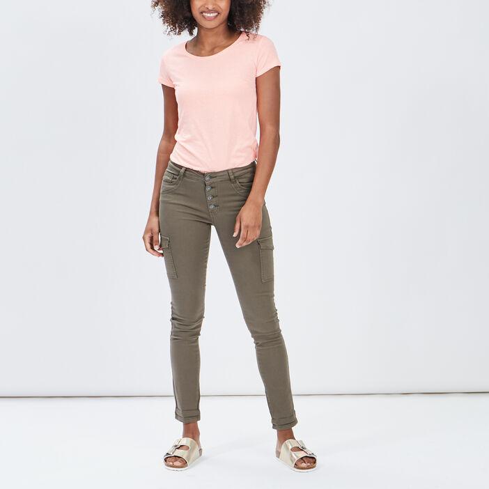 T-shirt manches courtes femme orange fluo