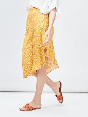 Jupe portefeuille asymetrique jaune moutarde femme