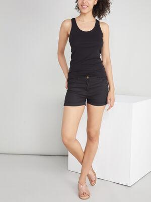 Short uni taille basse noir femme