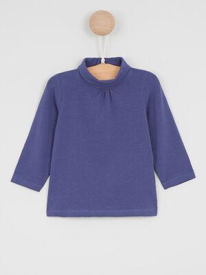T Shirt col roule coton majoritaire denim blue black fille