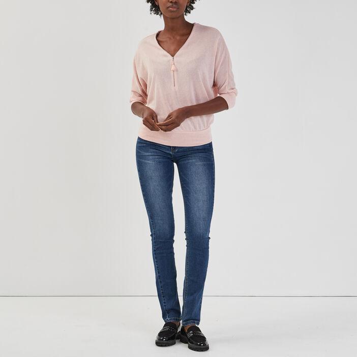 Pull avec col en V zippé femme rose