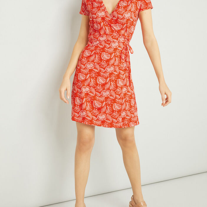 Robe portefeuille manches courtes femme rouge
