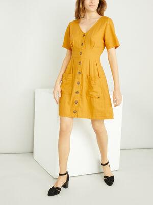 Robe unie evasee 2 poches jaune moutarde femme