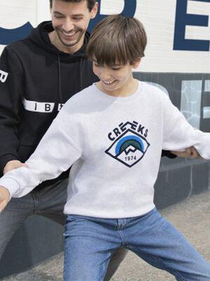 Sweatshirt manches longues ecru garcon
