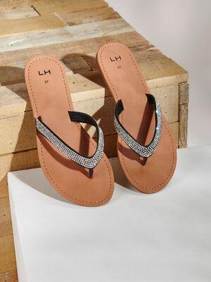 Sandales entre doigt strass noir femme