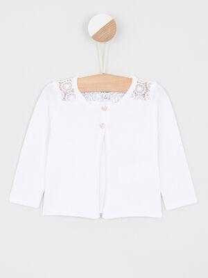 Gilet coton boutonne avec macrame blanc fille