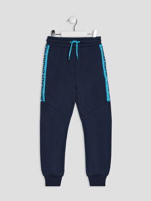 Jogging a taille elastiquee bleu marine garcon