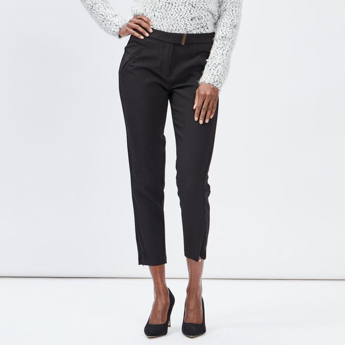 Pantalon carotte femme noir