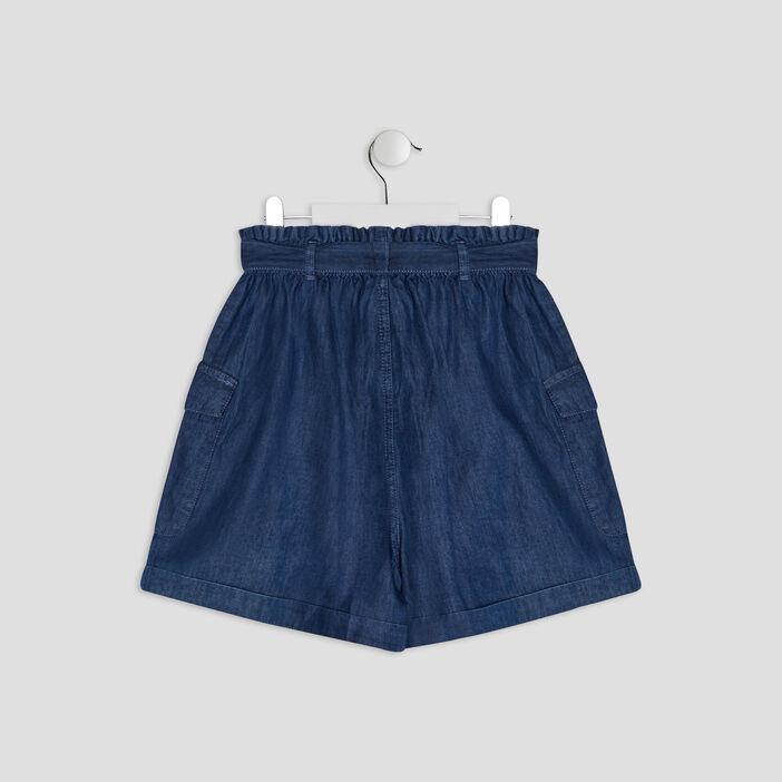 Short paperbag en jean fille bleu
