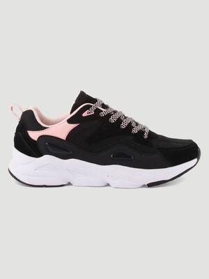 Runnings lacees tendance Papa Shoes noir femme