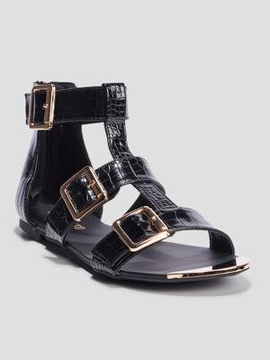 Sandales spartiates vernies noir femme