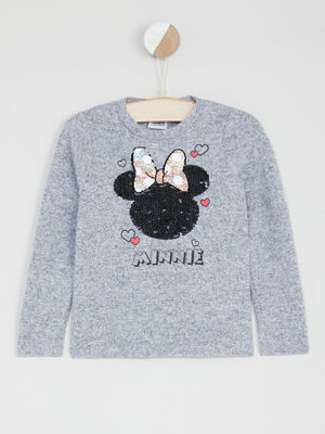 Pull Minnie deco sequins gris fille
