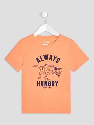 T shirt manches courtes orange corail garcon
