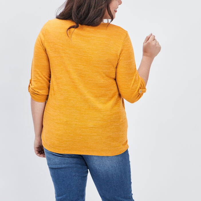 Pull manches 3/4 grande taille femme grande taille jaune moutarde