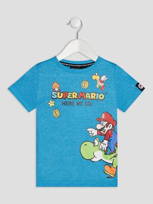 T shirt manches courtes Mario bleu turquoise garcon