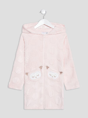 Peignoir a capuche rose fille