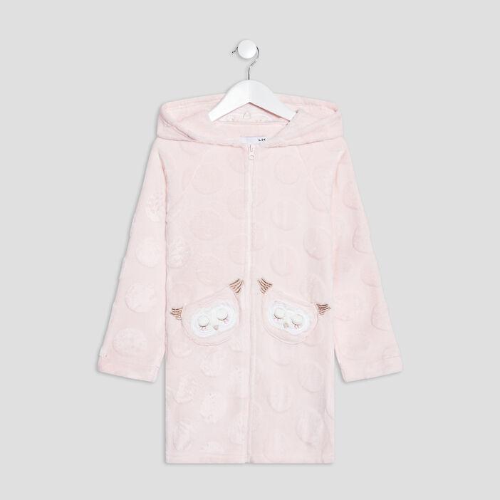 Peignoir à capuche fille rose