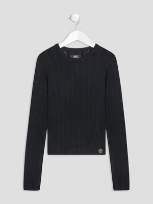 Pull manches longues Liberto noir fille