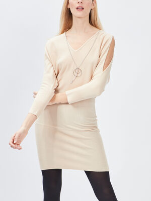 Robe pull droite Mosquitos beige femme