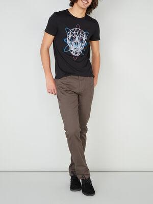 Pantalon droit uni vert kaki homme