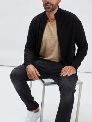 Gilet manches longues zippe noir homme