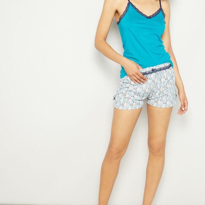 Bas de pyjama short femme bleu turquoise