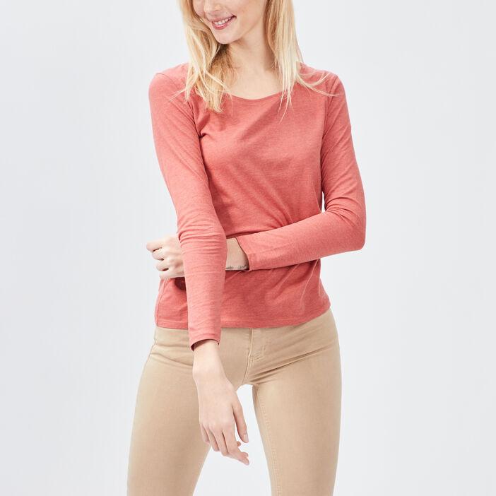 T-shirt manches longues femme orange foncé