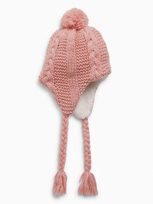 Bonnet peruvien avec pompon rose mixte