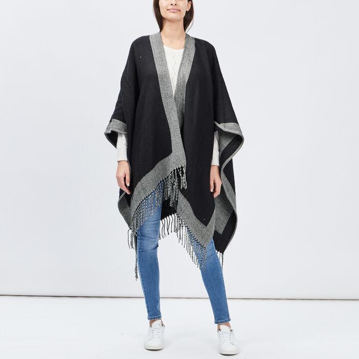 Poncho à franges mixte noir