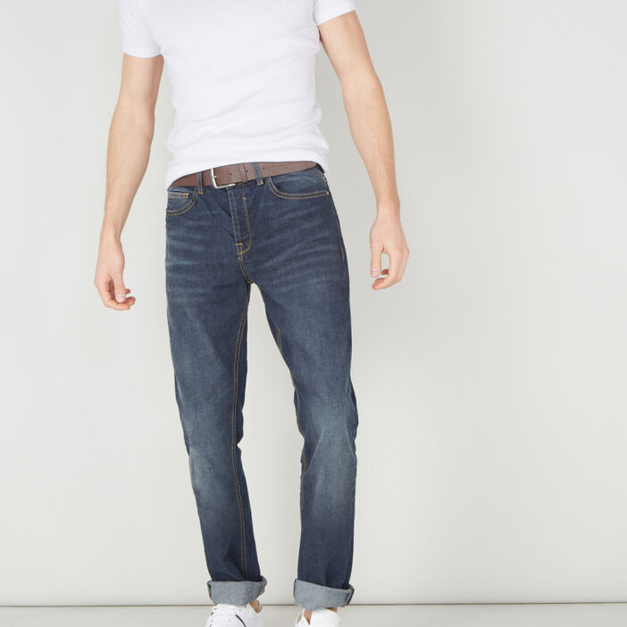 Jeans regular ceinturé homme denim stone