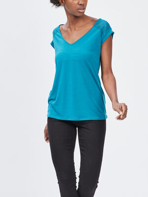 T shirt manches courtes bleu canard femme