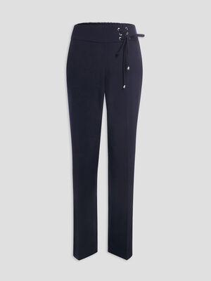 Pantalon droit avec oeillets bleu femme