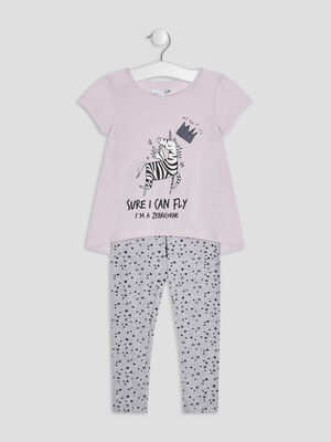 Ensemble pyjama 2 pieces parme fille
