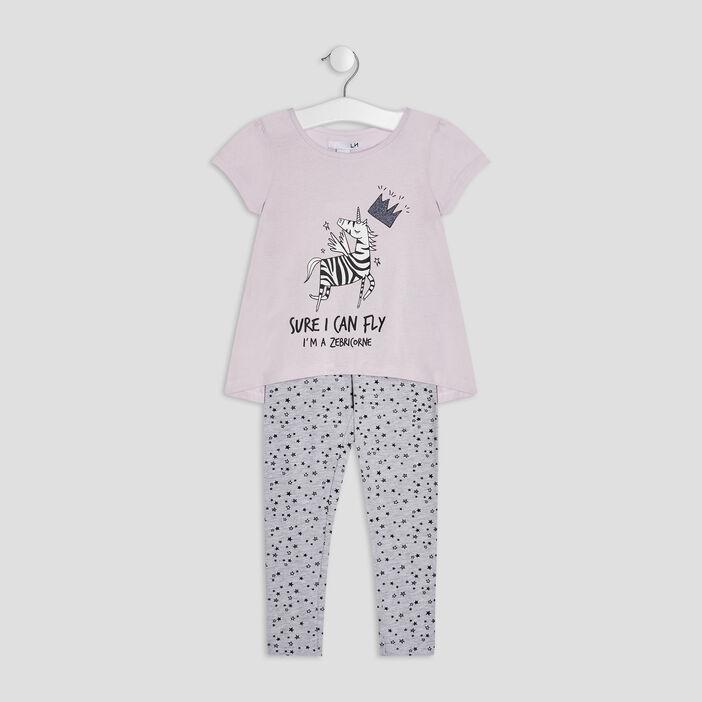 Ensemble pyjama 2 pièces fille parme
